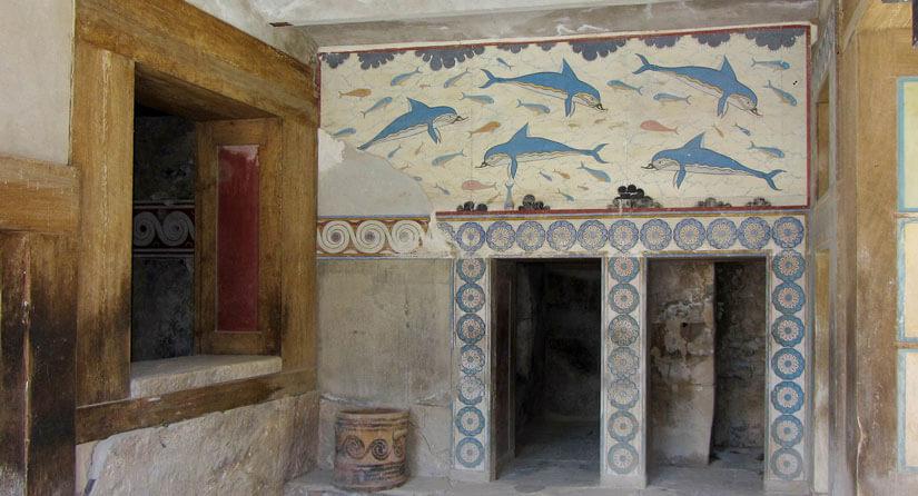 Fresco de delfines en la habitación de la reina Knossos