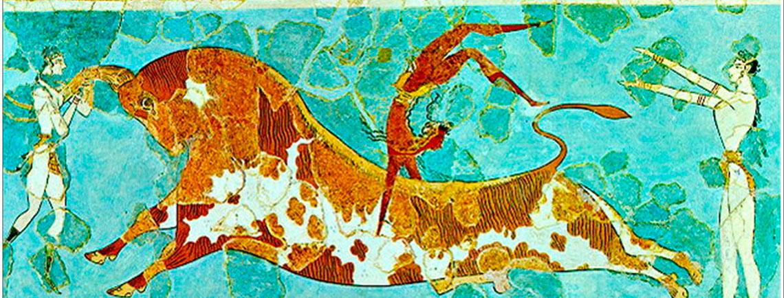 Fresco del salto del toro encontrado en Knossos