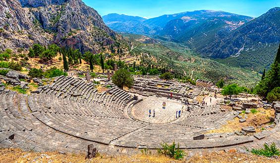 Teatro de Delfos construido en el seglo IV a.C.