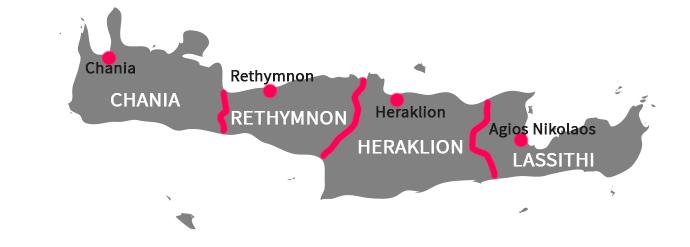 Mapa de regiones de Creta