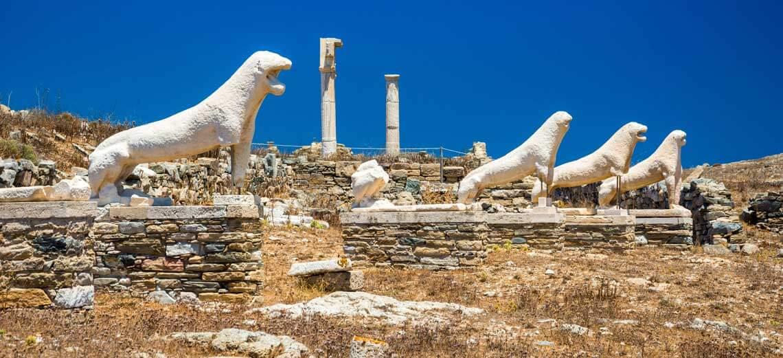 Terraza de los leones es la isla de Delos