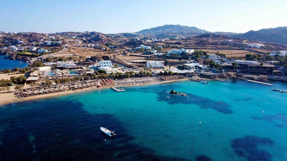 Vista aerea playa Paraga Mykonos