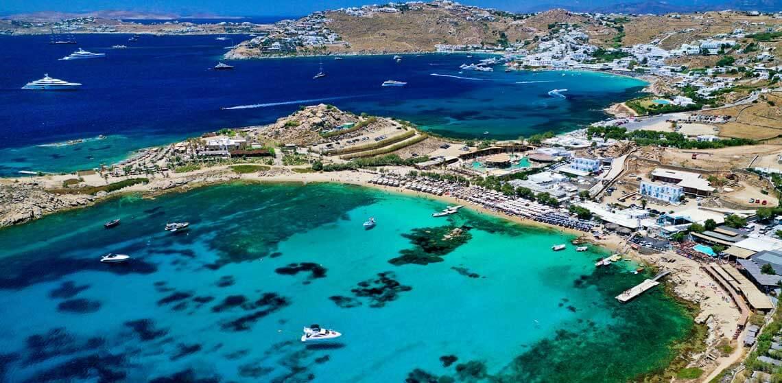 vista aerea dron playa platis gialos
